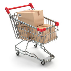 Shopping cart with boxes on white isolated background