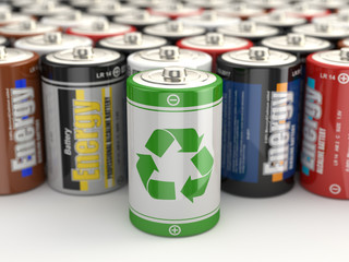 Battery green recycling concept. 3d