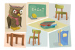 "Illustration set for the ""Back to School"" theme"