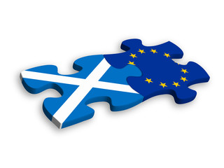 SCOTTISH and EU FLAGS Jigsaw Pieces (european union politics)