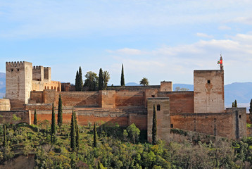 The Alcazaba of the Alhambra in Granda, Spain
