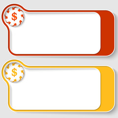 set of two abstract text boxes with arrows and dollar sign