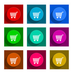 cart flat icon vector set
