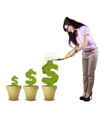 Businesswoman cutting plant isolated