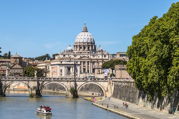 View of St. Peter's Basilica and the Sant'angelo bridge