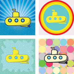 submarine graphic on many retro styles background