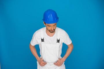 Workman in a blue hardhat