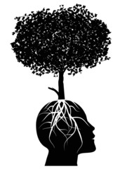 testa umana da cui fiorisce un albero
