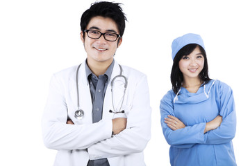 Confident young medical team isolated