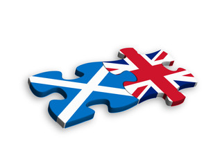 SCOTTISH and UK FLAGS Jigsaw Pieces (european union politics)