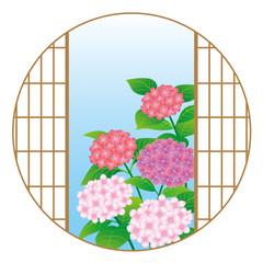 Hydrangea flowers through the Japanese window