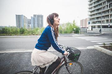beautiful woman biker cycling