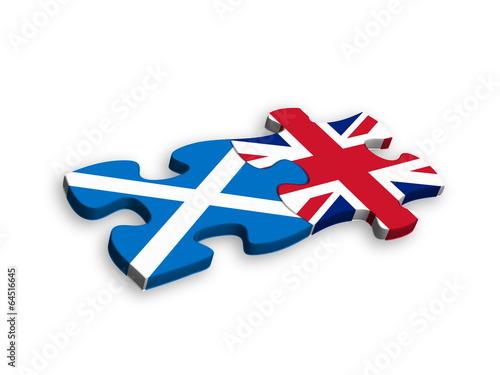 canvas print picture SCOTTISH and UK FLAGS Jigsaw Pieces (european union politics)