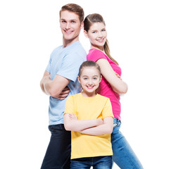Happy attractive family with daughter.