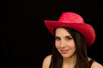 Cowgirl vor schwarz