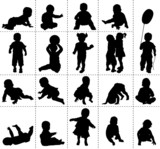 Fototapety Silhouettes de bébés