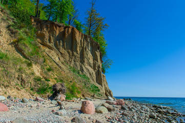 Coast of Baltic sea with famous cliff of Orlowo, Poland