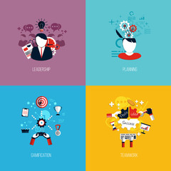 Icons for leadership, planning, gamification and teamwork. Flat