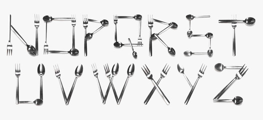 Alphabet N - Z written with cutlery