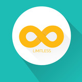 vector Limitless symbol on turquoise background poster