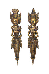 Two wood carved statues from Indonesia  with clipping path.