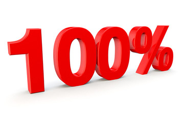 100% number in red on a white background