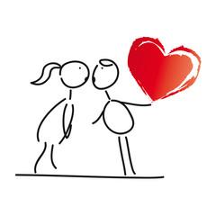 Junges Paar küßt sich - rotes Herz