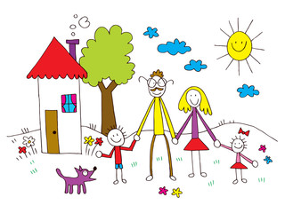 family in kids drawing style