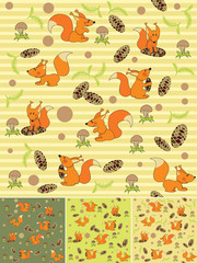 Four seamless background with squirrels
