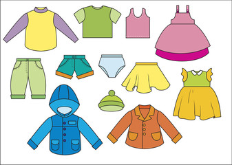 A set of different types of clothing