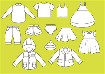 A set of different types of clothing. Contour drawing
