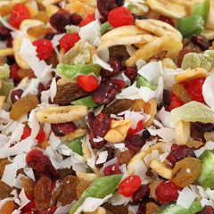 mix of dry and candied fruits as background
