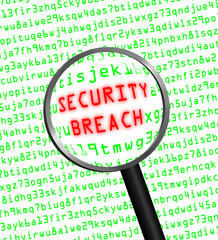 "Red ""SECURITY BREACH"" revealed in green computer code through a"