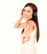 teen woman with headphones pointing on you
