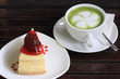 Strawberry cheese cake and Green tea
