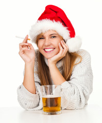 smoking girl in red Santa hat drinking beer