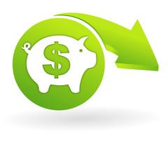 épargne dollar sur web symbole vert