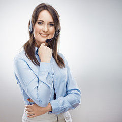 Operator call center. Customer service smiling  woman.