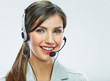 Customer support operator close up portrait.  call center smili