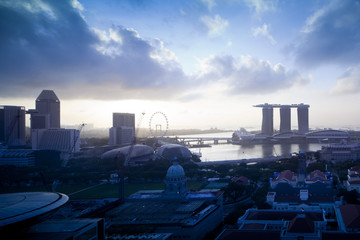 Singapore skyline at Marina Bay in the morning