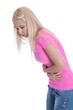 Junges Mädchen isoliert mit Bauchschmerzen