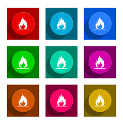 flame flat icon vector set