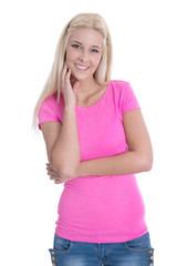 Portrait junge lachende Frau in rosa auf weiß isoliert