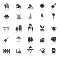 Farming icons with reflect on white background