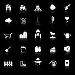 Farming icons with reflect on black background