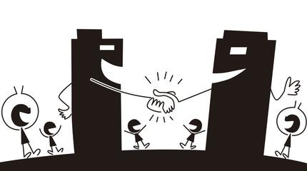 会社同士で握手する
