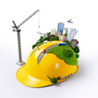 City on the construction helmet. - 64529241