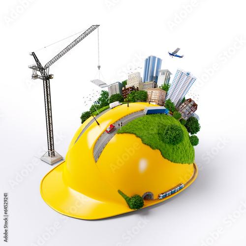 City on the construction helmet. - 64529241