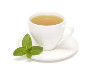 tea cup mint leaves