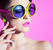 Colorful summer portrait attractive young woman with sunglasses